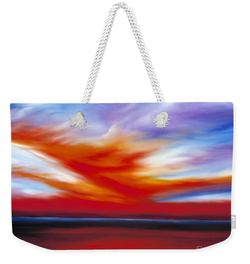 Seascape Weekender Tote Bag featuring the painting October Sky II by James Christopher Hill