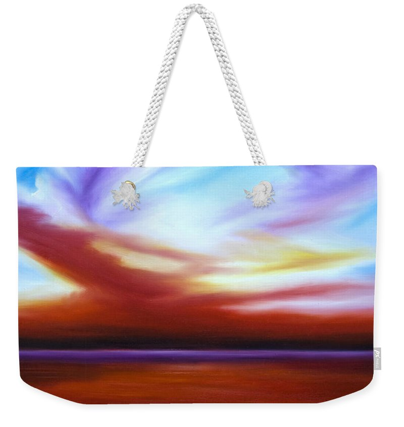 Skyscape Weekender Tote Bag featuring the painting October Sky IIi by James Christopher Hill