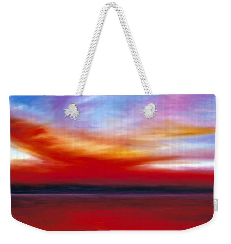 Clouds Weekender Tote Bag featuring the painting October Sky by James Christopher Hill