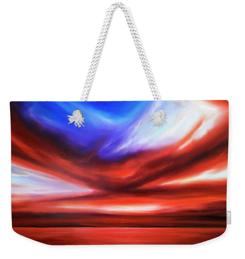 Sunrise; Sunset; Power; Glory; Cloudscape; Skyscape; Purple; Red; Blue; Stunning; Landscape; James C. Hill; James Christopher Hill; Jameshillgallery.com; Ocean; Lakes; Storm; Tornado; Lightning Weekender Tote Bag featuring the painting October Sky V by James Christopher Hill