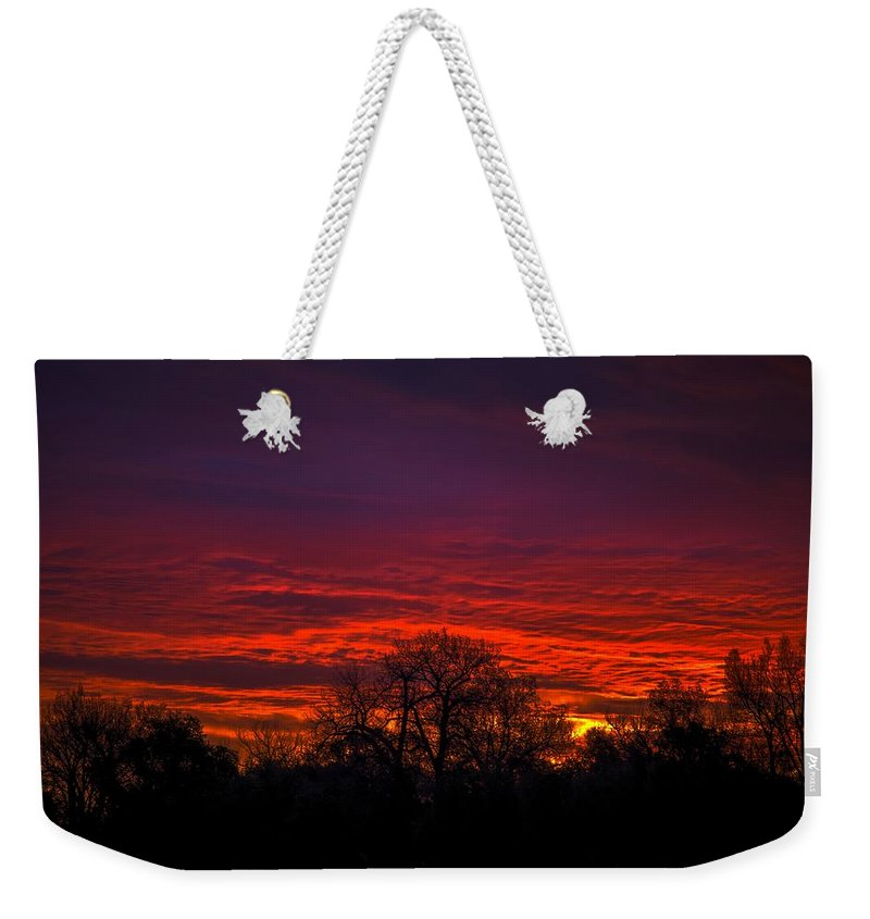Sunrise Weekender Tote Bag featuring the photograph October Sunrise 2 by Chad Rowe