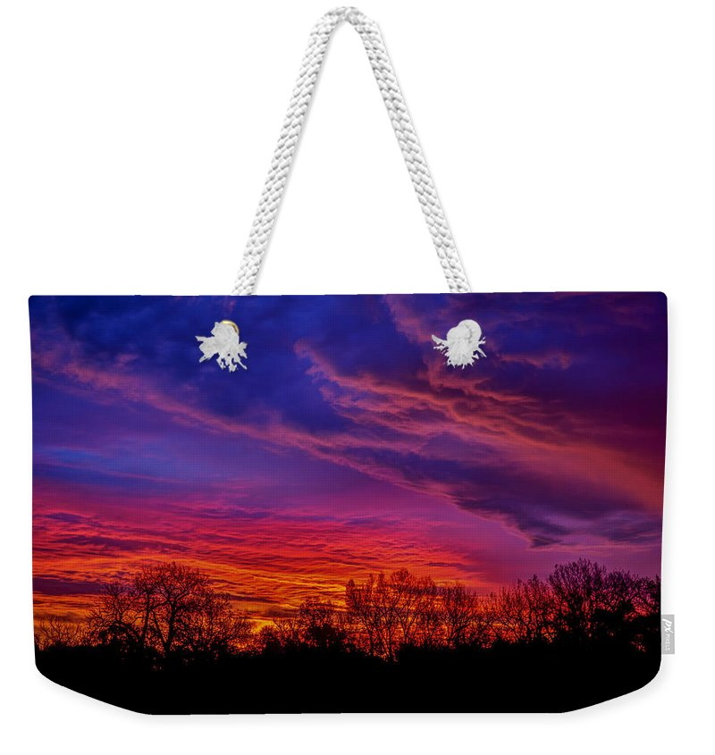 Sunrise Weekender Tote Bag featuring the photograph October Sunrise 3 by Chad Rowe