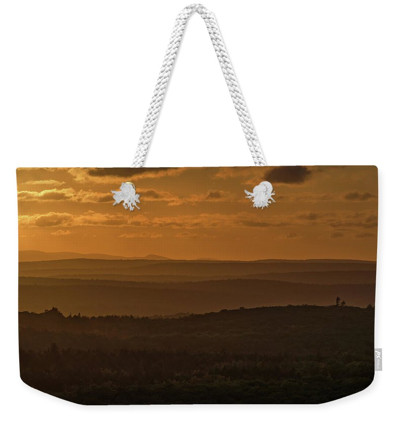 Acadia National Park Weekender Tote Bag featuring the photograph October Sunset In Acadia by Jesse MacDonald