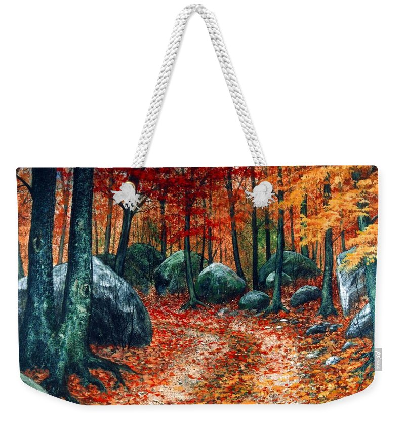 Landscape Weekender Tote Bag featuring the painting October Woodland by Frank Wilson