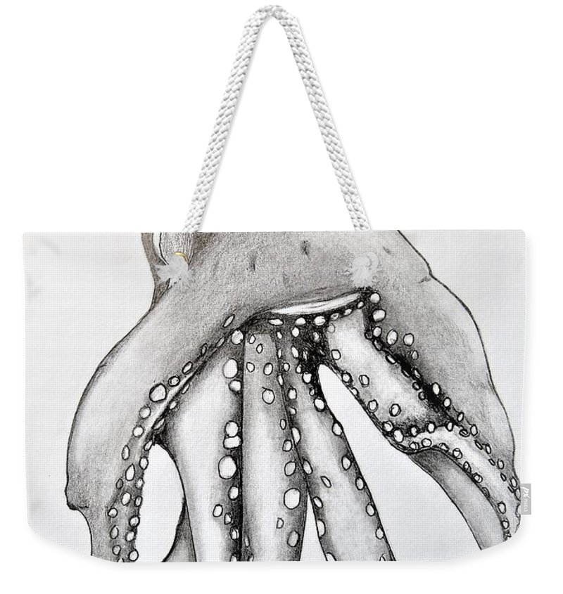 Water Weekender Tote Bag featuring the drawing Octopus Of The Sea by Ralph Blankenship