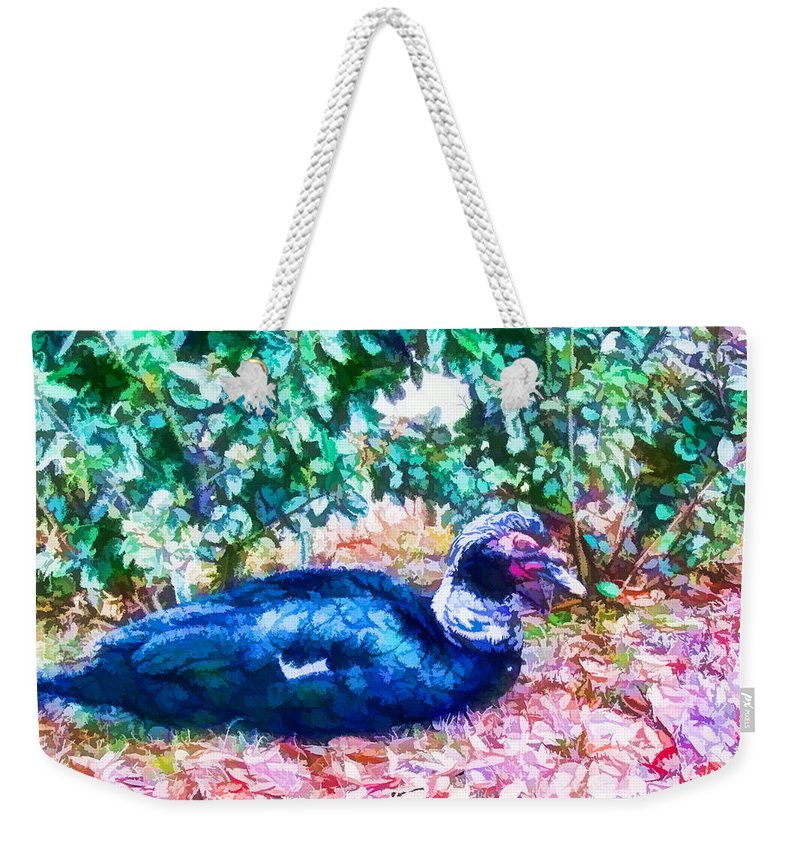 Profile Weekender Tote Bag featuring the painting Odd Looking Duck In Swansboro Nc 3 by Jeelan Clark