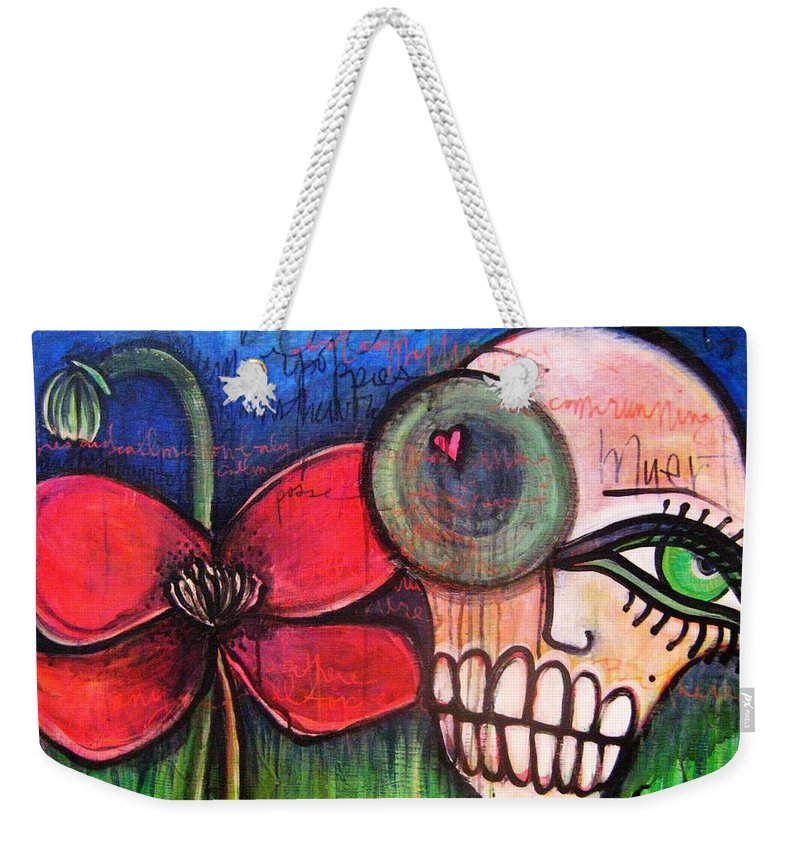 Skulls Weekender Tote Bag featuring the painting Ode To Kings by Laurie Maves ART