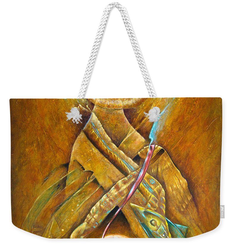 Native American Weekender Tote Bag featuring the painting Of Earth And Sky by Kevin Chasing Wolf Hutchins