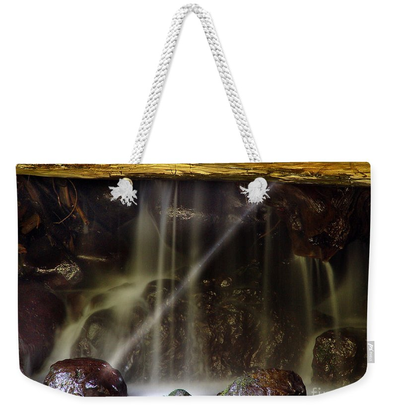 Water Trickle Weekender Tote Bag featuring the photograph Of Light And Mist by Peter Piatt