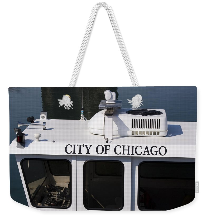 Chicago Windy City Police Boat Lake Michigan Water White Weekender Tote Bag featuring the photograph Off Duty by Andrei Shliakhau