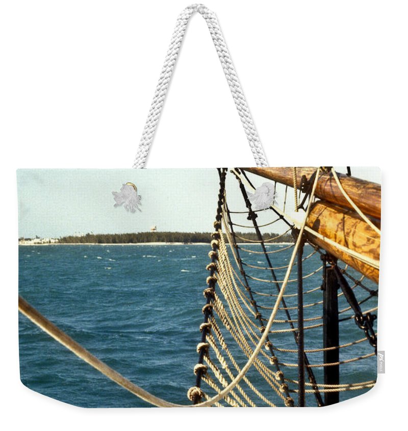 Ship Weekender Tote Bag featuring the photograph Off The Bow by Douglas Barnett