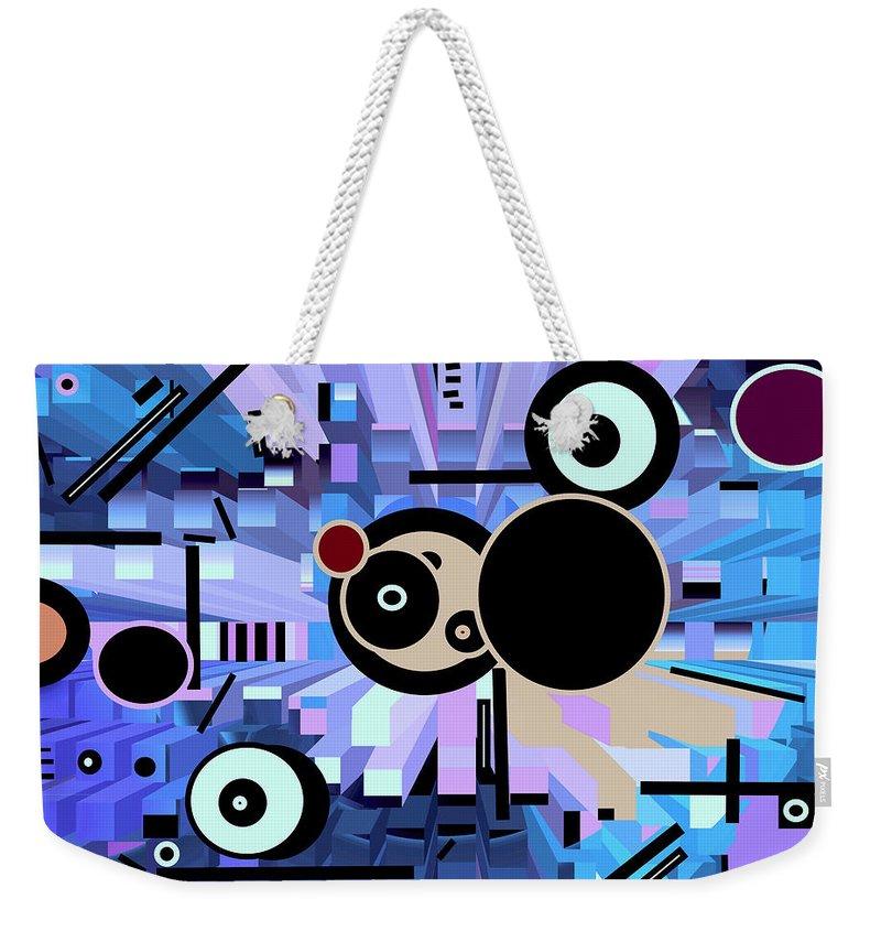 Spatial Weekender Tote Bag featuring the digital art Off The Grid 61 by Lynda Lehmann