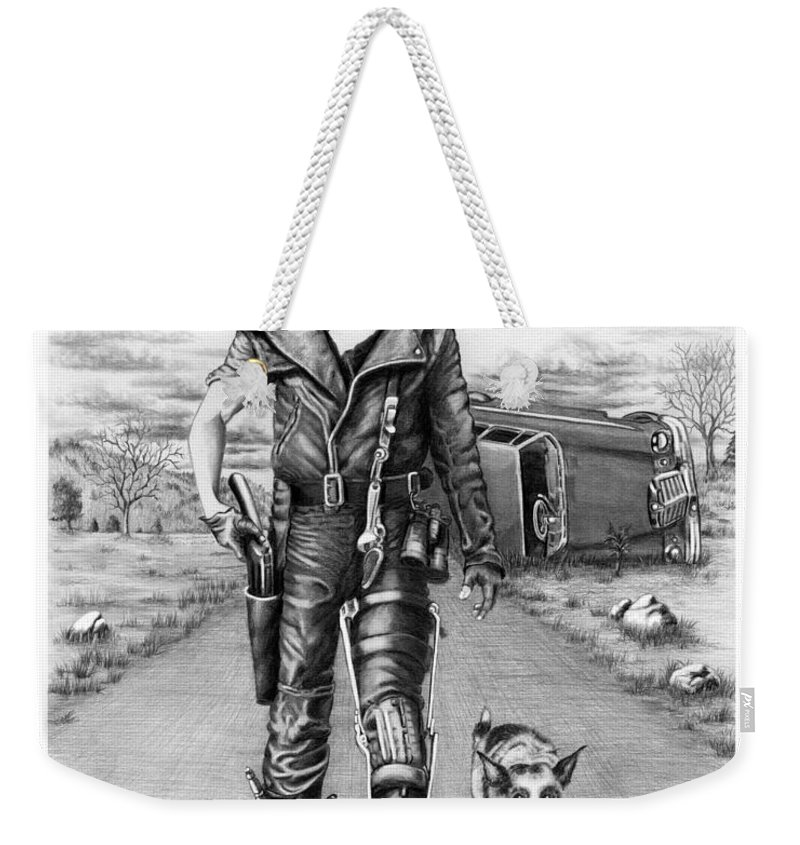 Pencil Weekender Tote Bag featuring the drawing Offended Max by Murphy Elliott