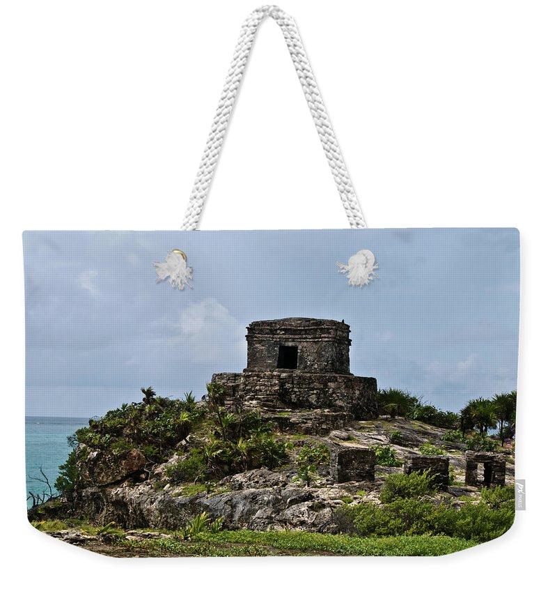 Tulum Ruins Weekender Tote Bag featuring the photograph Offertories Telum Ruins Mexico by Douglas Barnett