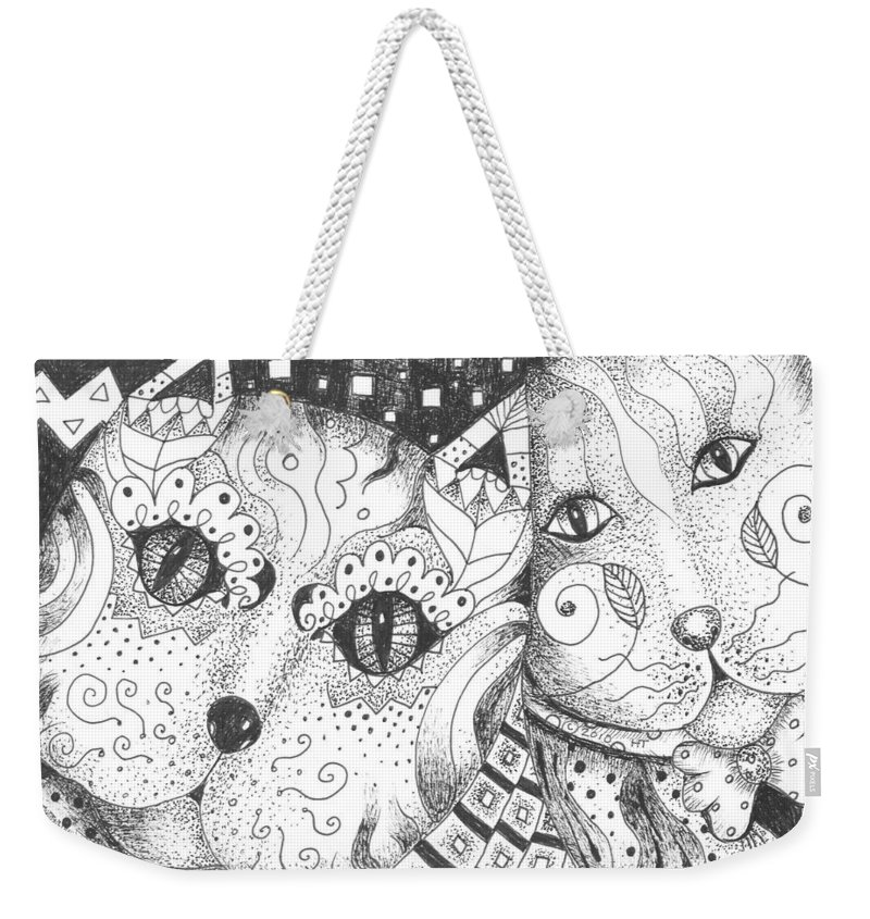 Cat. Cats Weekender Tote Bag featuring the drawing Oh Purr... by Helena Tiainen