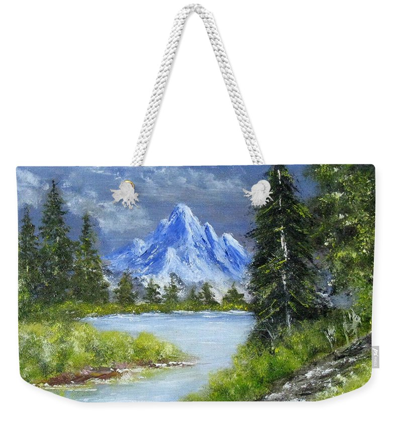 Landscape Weekender Tote Bag featuring the painting Oh, Spring, 9x12, Oil, '07 by Lac Buffamonti