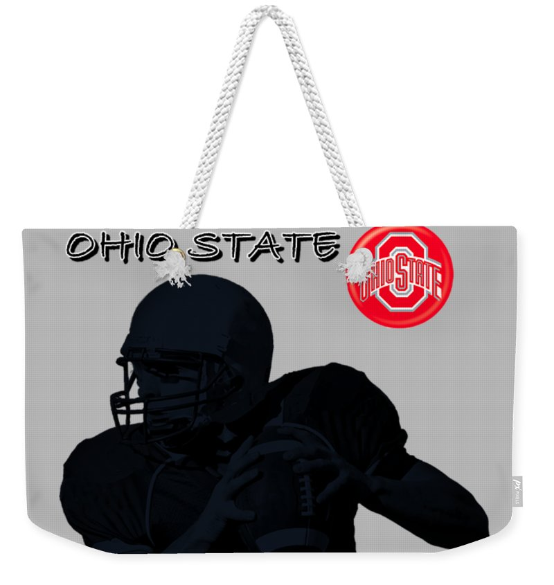 Football Weekender Tote Bag featuring the digital art Ohio State Football by David Dehner