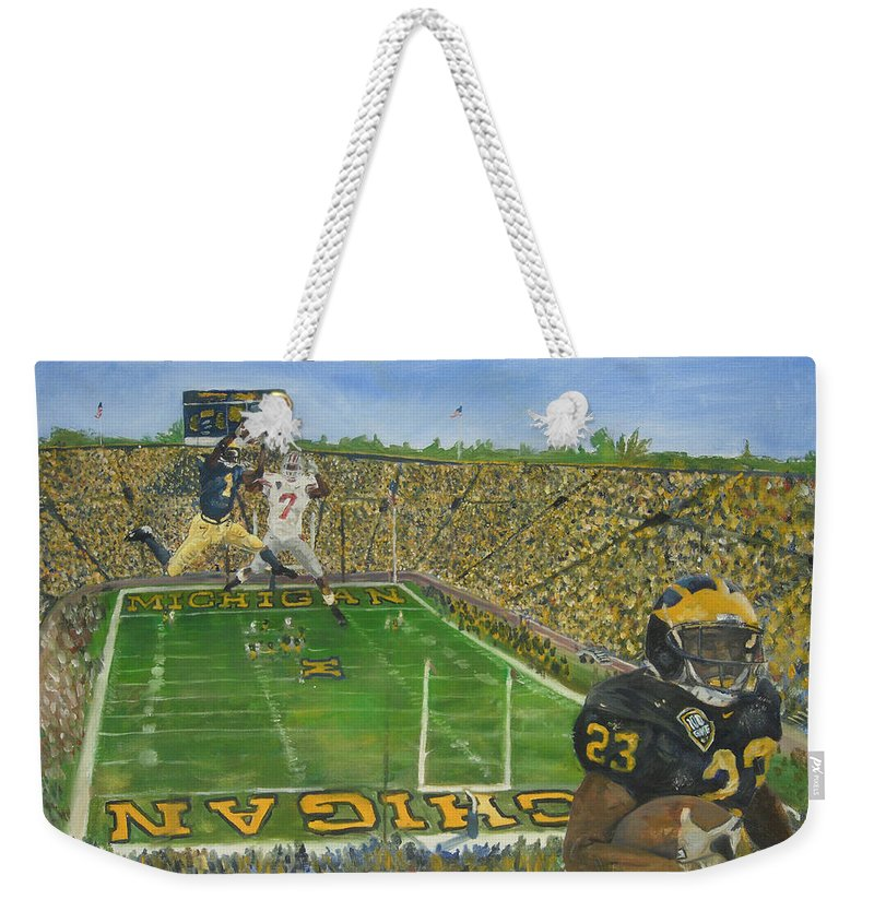 Michigan Weekender Tote Bag featuring the painting Ohio State vs. Michigan 100th Game by Travis Day