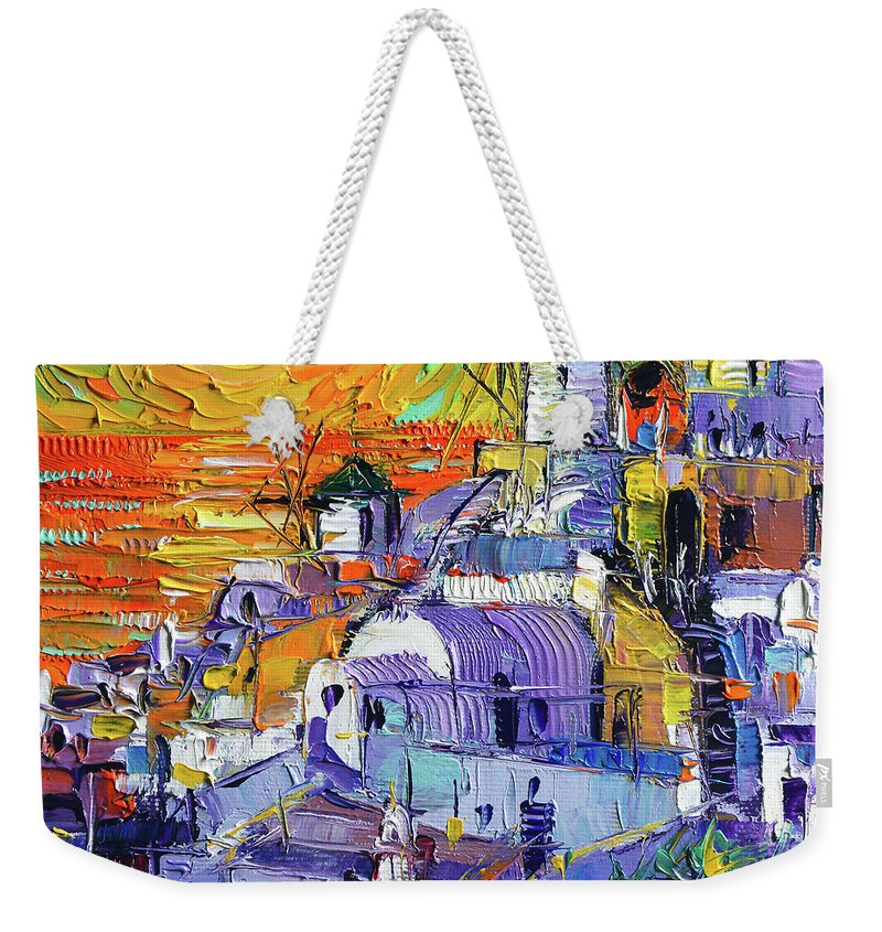 Oia Santorini Magic Light Weekender Tote Bag featuring the painting Oia Santorini Magic Light Mini Cityscape 09 - Modern Impressionist Palette Knife Oil Painting by Mona Edulesco