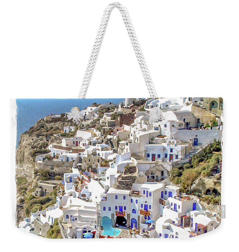 Santorini Weekender Tote Bag featuring the painting Oia Watercolor by Delphimages Photo Creations
