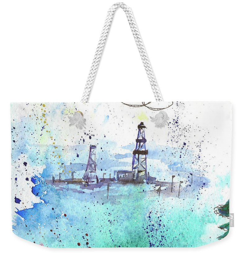 Drilling Weekender Tote Bag featuring the painting Oil Drilling by Yana Sadykova