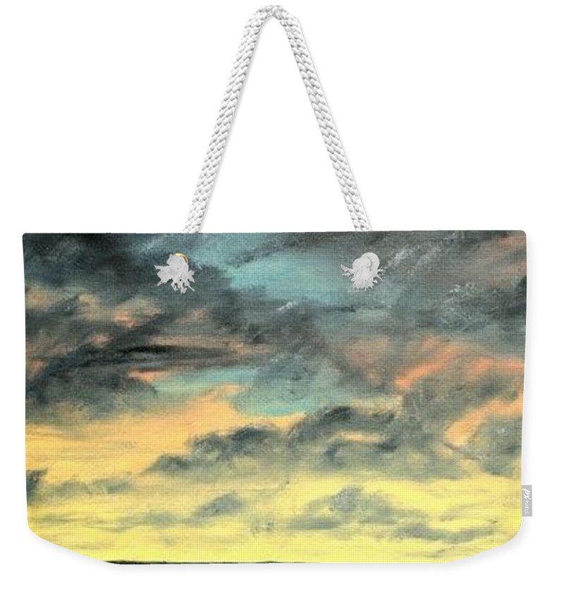 Oil Weekender Tote Bag featuring the painting Oil Skyscape Painting by Derek Mccrea