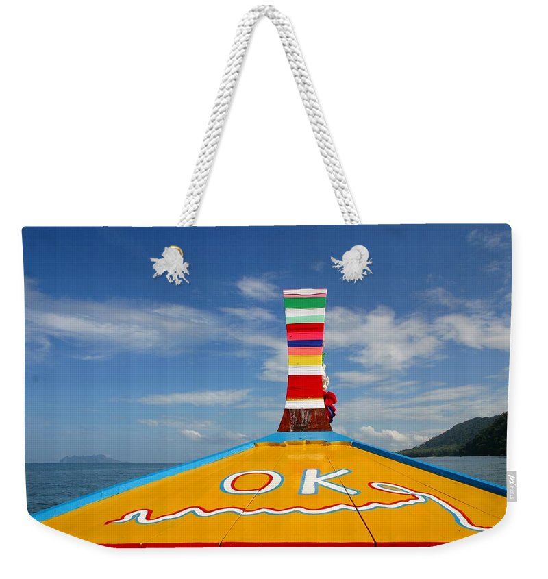 Weekender Tote Bag featuring the photograph Okay In Thailand by Minaz Jantz