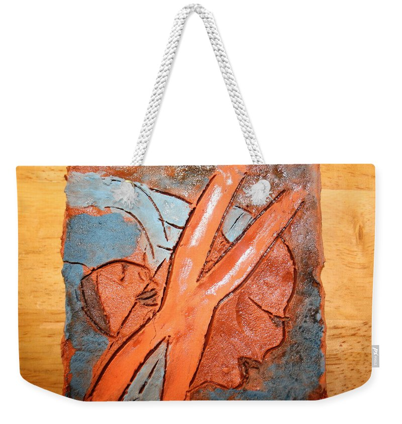 Jesus Weekender Tote Bag featuring the ceramic art Okuweka - Tile by Gloria Ssali