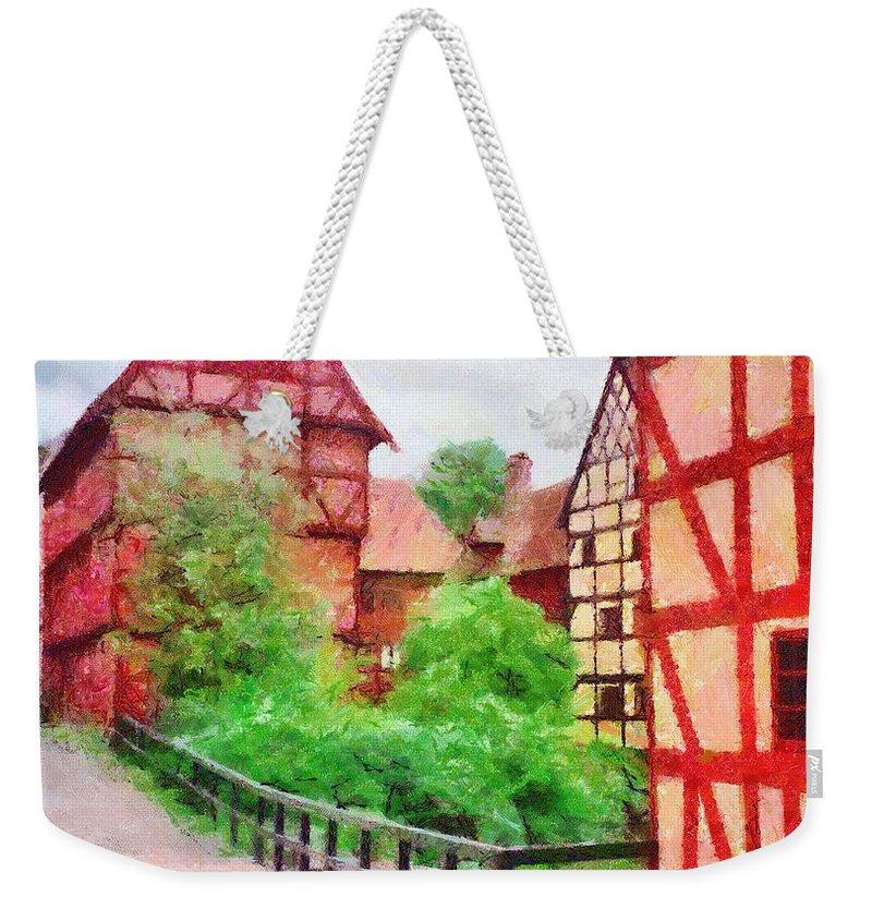 Aarhus Weekender Tote Bag featuring the painting Old Aarhus by Jeffrey Kolker
