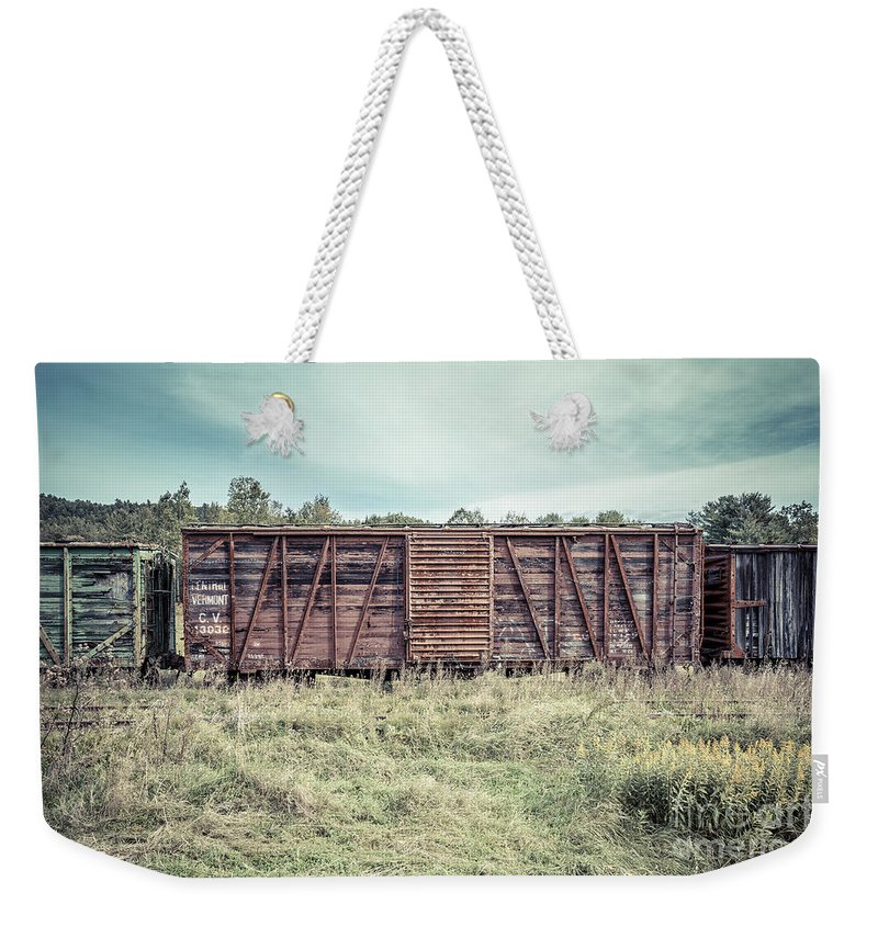 Train Weekender Tote Bag featuring the photograph Old Abandoned Box Cars Central Vermont by Edward Fielding