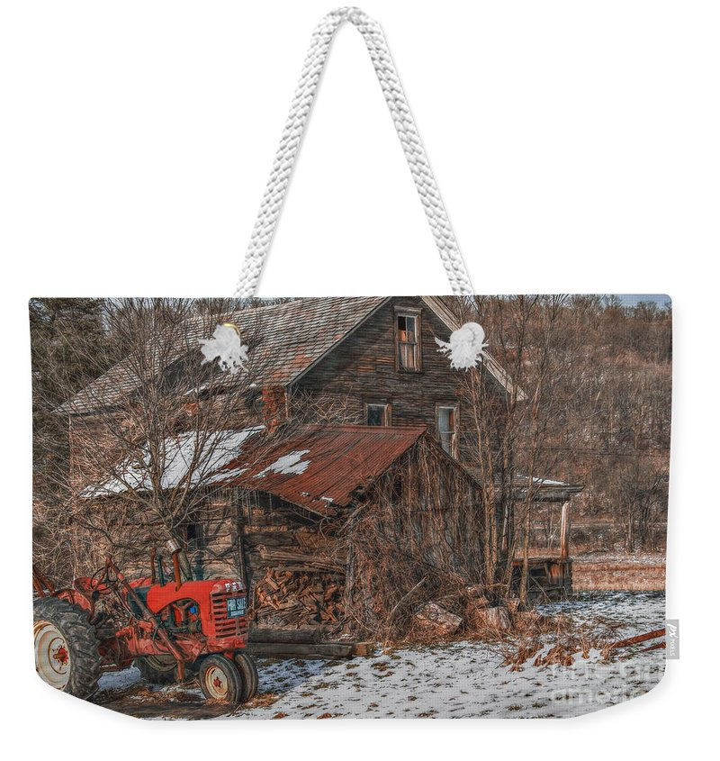 Abandoned Weekender Tote Bag featuring the digital art Old Abandoned Farm Homestead by Randy Steele