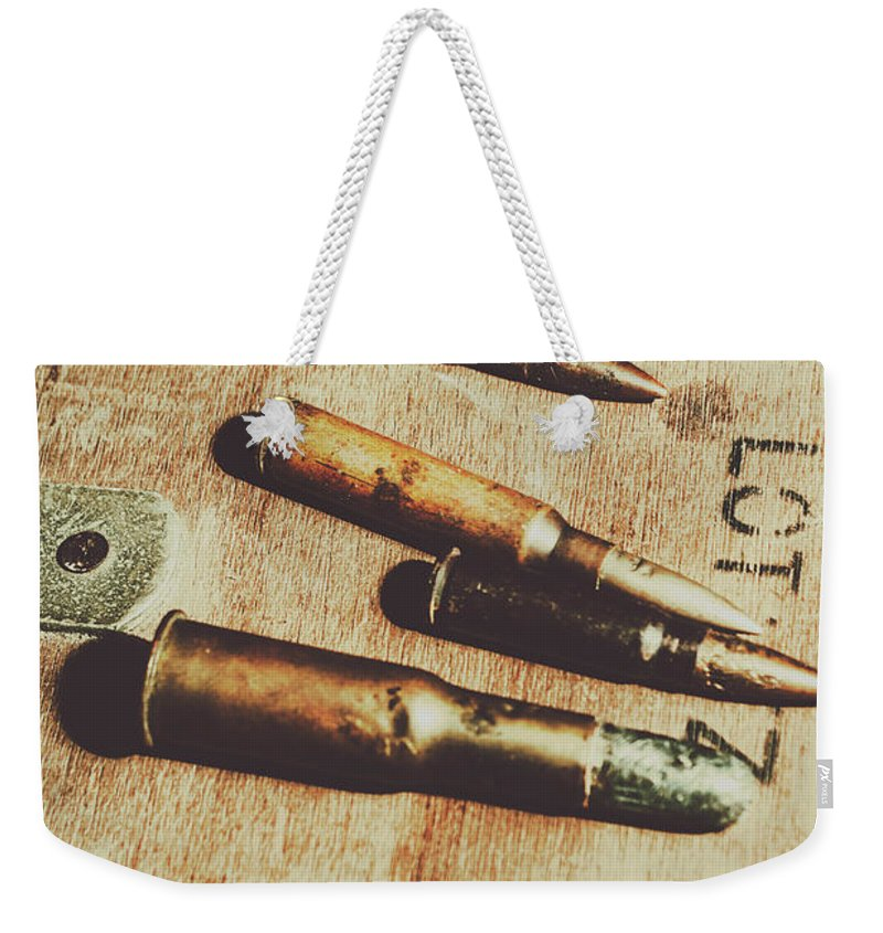 Army Weekender Tote Bag featuring the photograph Old Ammunition by Jorgo Photography - Wall Art Gallery
