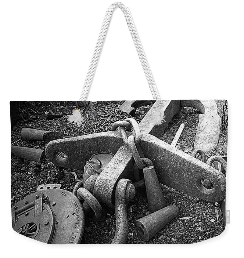 Cast Iron Weekender Tote Bag featuring the photograph Old Anchor by Bob Kemp