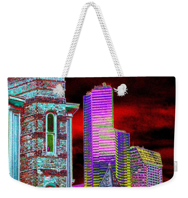 Seattle Weekender Tote Bag featuring the digital art Old And New Seattle by Tim Allen