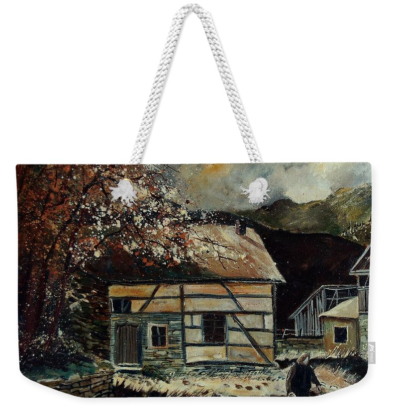Village Weekender Tote Bag featuring the painting Old Ardennes 56 by Pol Ledent
