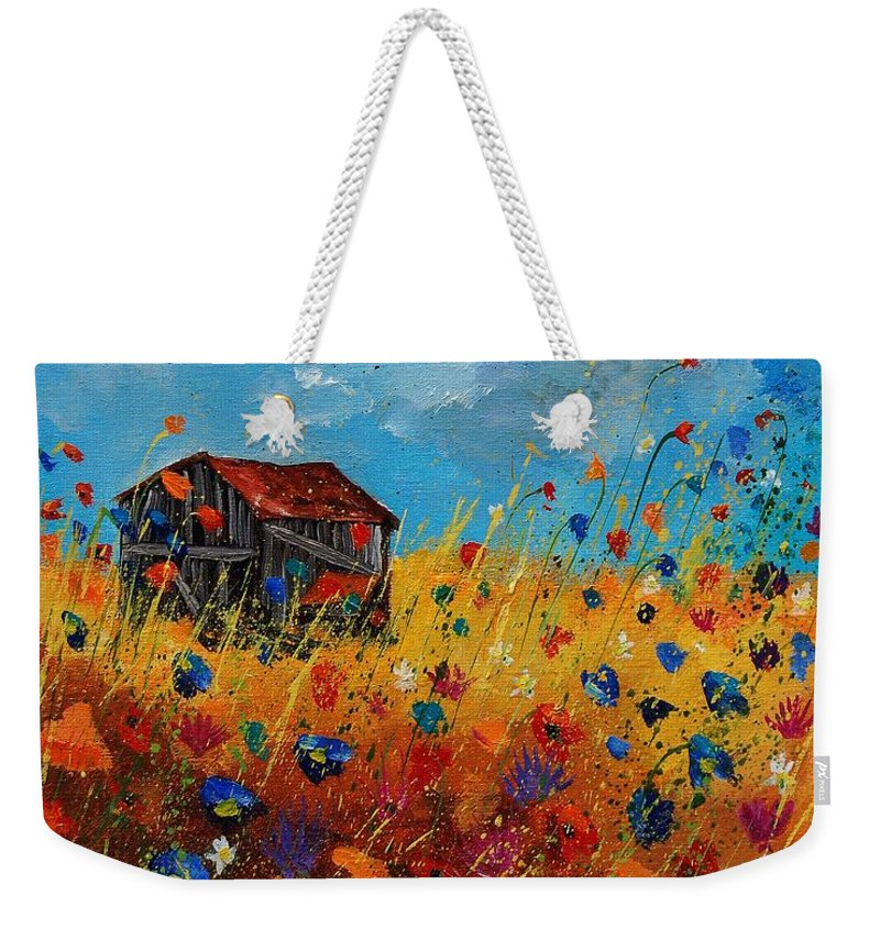 Flowers Weekender Tote Bag featuring the painting Old Barn And Wild Flowers by Pol Ledent