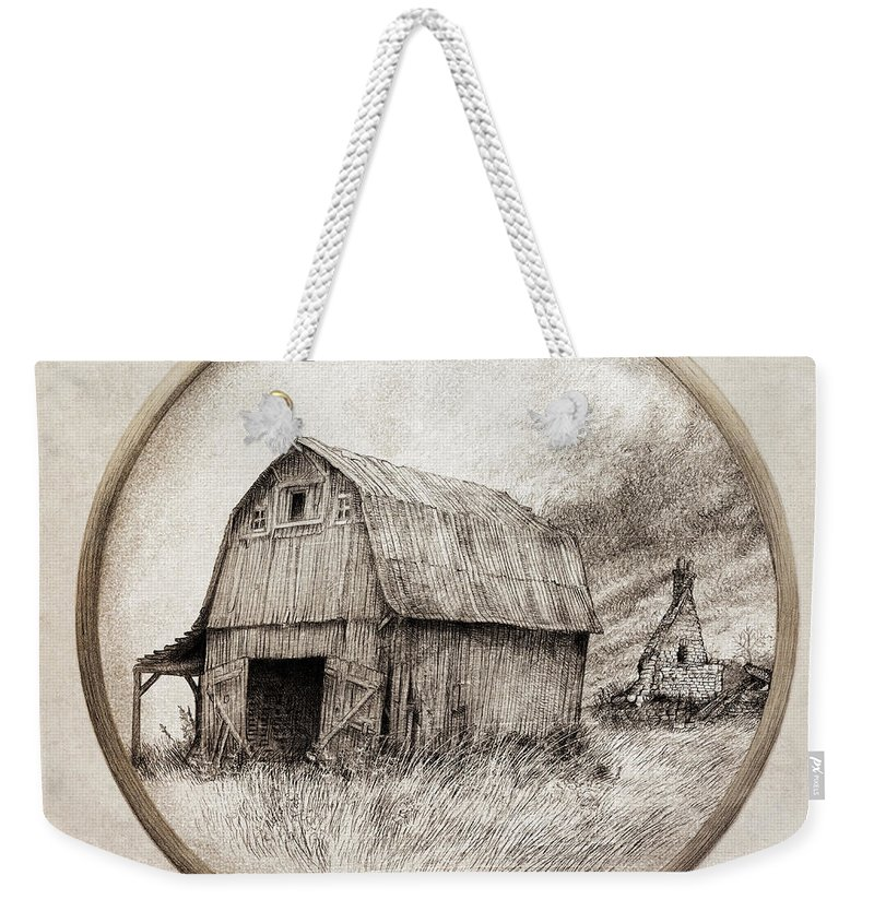 Barn Weekender Tote Bag featuring the drawing Old Barn by Eric Fan