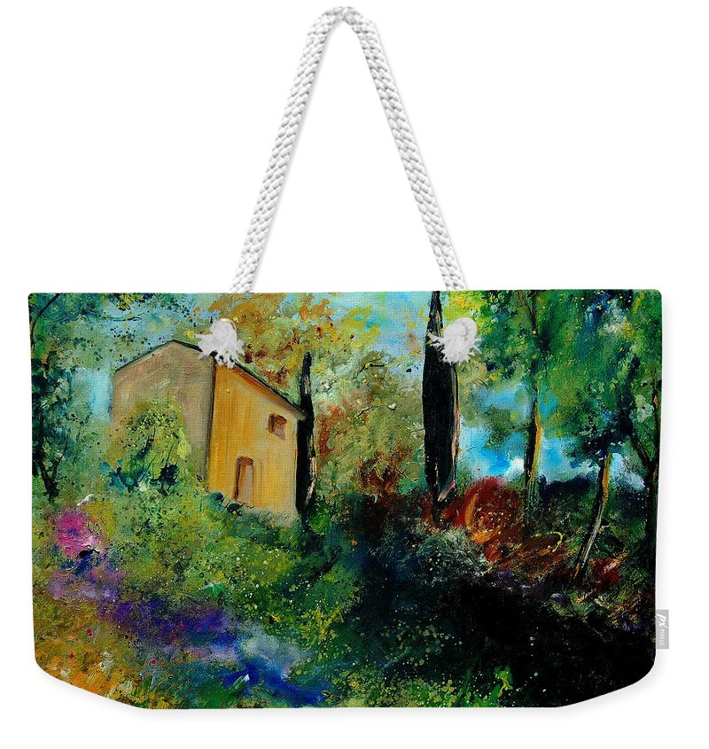Provence Weekender Tote Bag featuring the painting Old Barn In Provence by Pol Ledent