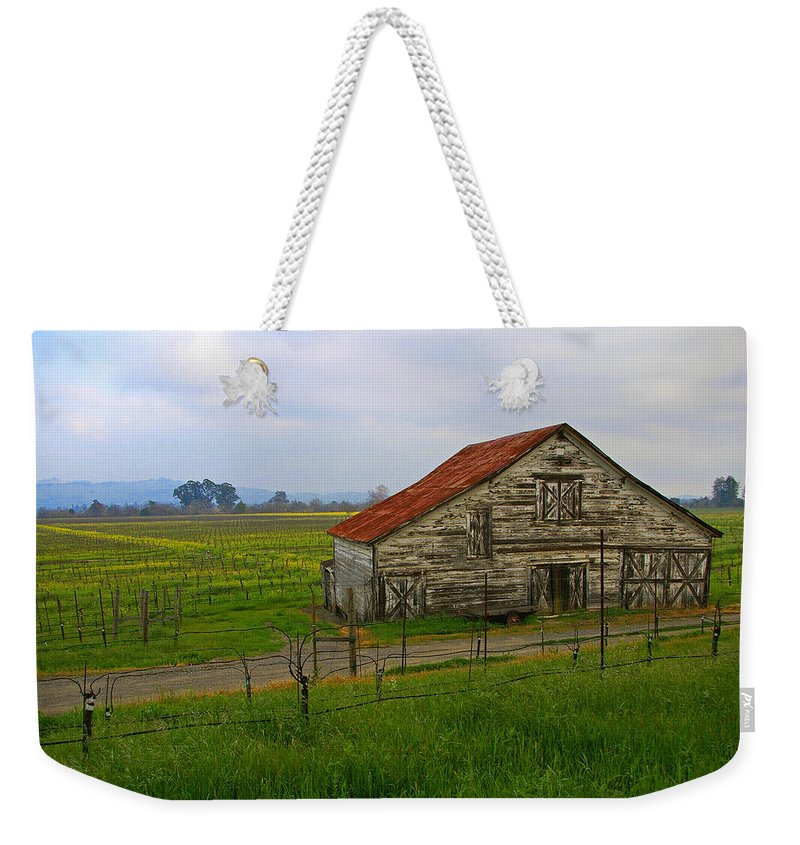 Barn Weekender Tote Bag featuring the photograph Old Barn In The Mustard Fields by Tom Reynen