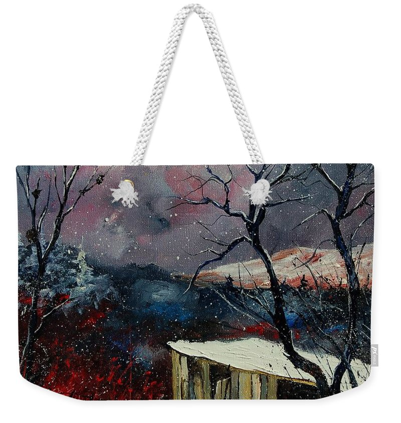 Winter Weekender Tote Bag featuring the painting Old Barn In Winter by Pol Ledent
