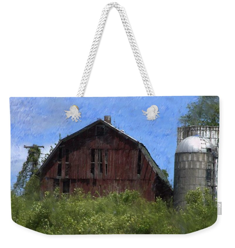 Old Barn Weekender Tote Bag featuring the photograph Old Barn On Summer Hill by David Lane