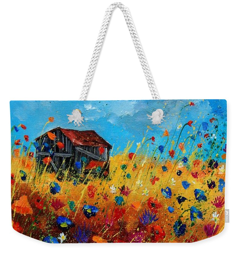 Poppies Weekender Tote Bag featuring the painting Old Barn by Pol Ledent
