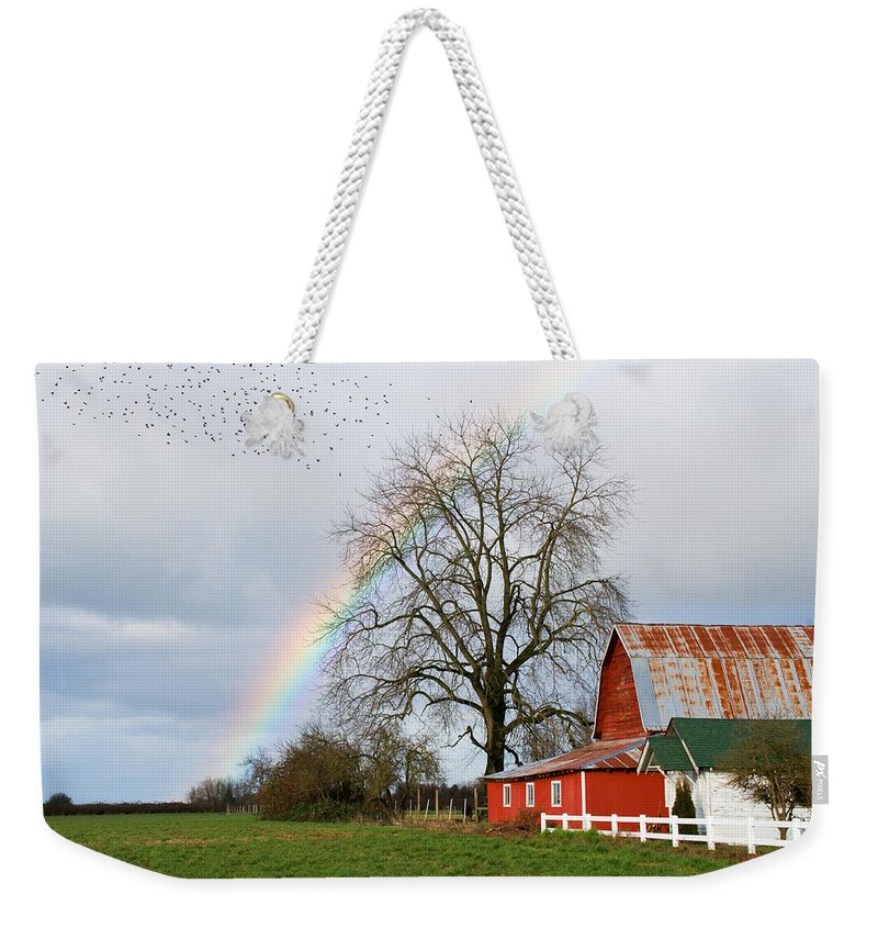 Flying Weekender Tote Bag featuring the photograph Old Barn Rainbow by Randall Ingalls