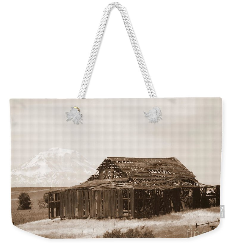 Barn Weekender Tote Bag featuring the photograph Old Barn With Mount Adams In Sepia by Carol Groenen