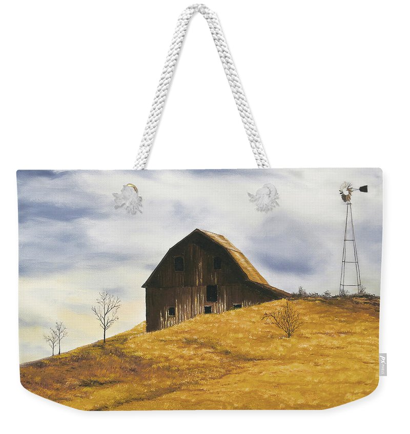 Nature Weekender Tote Bag featuring the painting Old Barn With Windmill by Johanna Lerwick