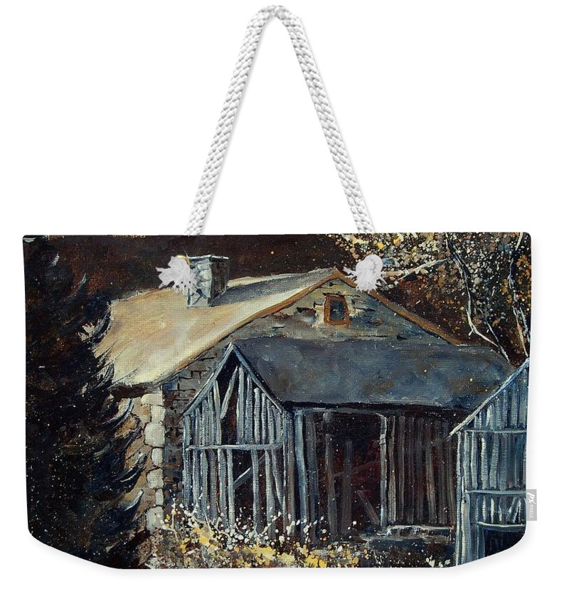 Village Weekender Tote Bag featuring the painting Old Barns by Pol Ledent