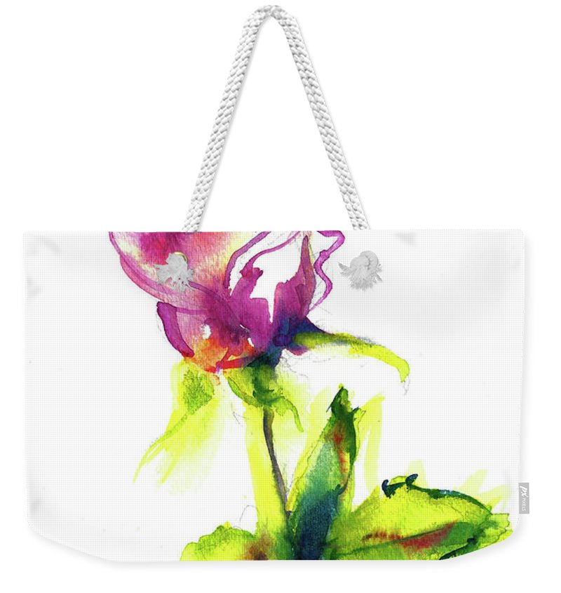 Painting Of Pink Rose Weekender Tote Bag featuring the painting Old Blush - Rose by Jacki Kellum