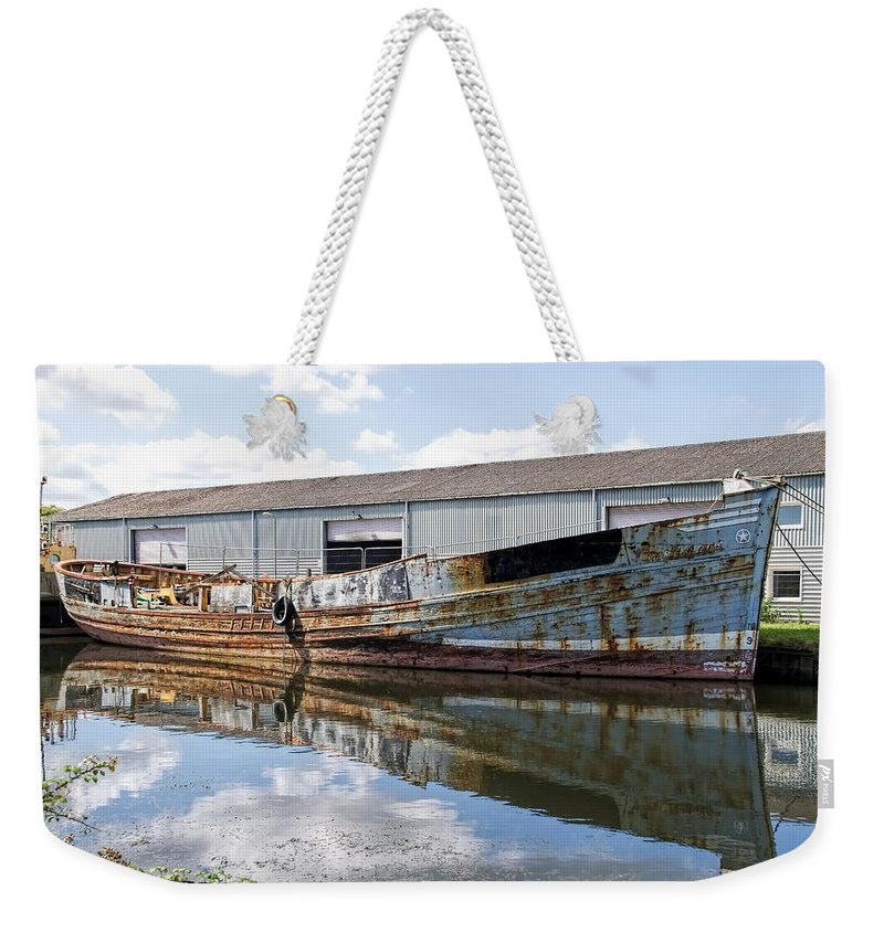 Exeter Weekender Tote Bag featuring the photograph Old Boats Along The Exeter Canal by Susie Peek