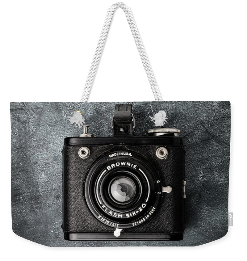Above Weekender Tote Bag featuring the photograph Old Box Camera by Edward Fielding