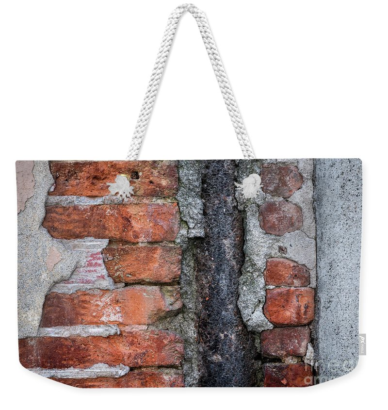 Wall Weekender Tote Bag featuring the photograph Old Brick Wall Abstract by Elena Elisseeva